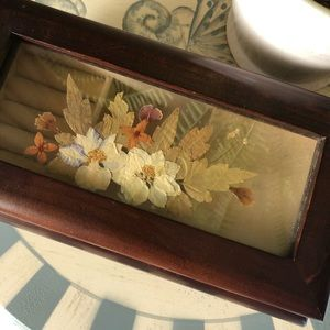 Vintage Pressed Flower Musical Jewelry Box
